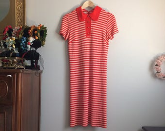1970s Striped Shift Dress / 70s Summer Dress/ Red and White Dress