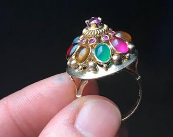 Thai Princess Ring - Large Gemstone Statement Ring - Multi Stone Cluster Ring