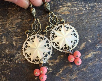 Mother Pearl Coral Earrings Vintage 1930s 1940s Bridal Jewelry Art Deco Artisan