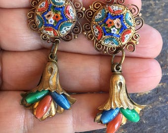Micro Mosaic Reign Bridal Jewelry Earrings Czech Glass Blue Red Vintage 1930 1940 Renaissance Wedding
