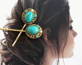 1stDayofSummerSALE Decorative Hair Pins Jewelry 1940's Bridal Renaissance Turquoise Aqua Blue Filigree Hairpins Bobby Pins