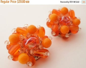 ON SALE Vintage West Germany Clip On Earrings Orange, Tangerine & Clear Lucite Beads , Irridescent Beads, Collectible Jewelry, Round, Shiny,