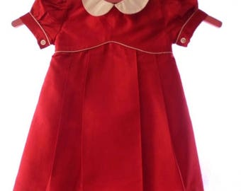 ON SALE Beautiful Fleurisse 12 M 100% Silk Little Girls Dress, Burgundy Red With Ivory, Designed In France, Special Occassion, Made In Phili