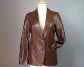 Leather Blazer / Vtg 70s ...