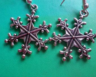 Tibetan silver snowflake earrings