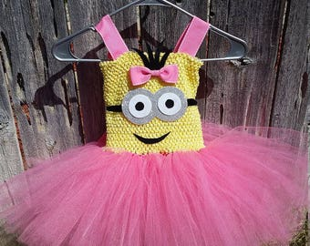 Birthday Party Yellow and Pink or Royal Blue Minion Tutu Dress Costume