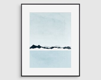 Minimalist Art Print Abstract Wall Art Landscape Painting Blue Scandinavian Modern Art Print Gift for Men Mountain Print Bedroom Wall Decor