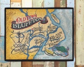 Bluffton SC Old Town Coastal Map Print from an original hand painted & lettered sign. Beach House Decor, Nautical Design, South Carolina Art