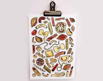 Pasta Illustration A5 Art Print | Colourful Quirky Gifts