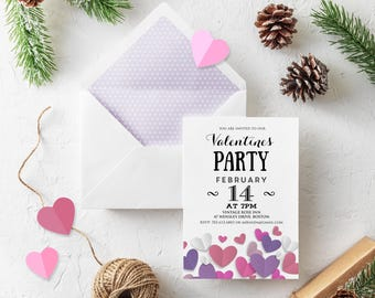 Valentine's Day Party Invitation Printable, Love Invites, Valentine heart Invitations, Valentines day card - Party Invite DOWNLOAD Template