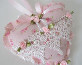 Heart Lace Pillow, Pillow Ornament, Cottage Chic Decor, Hanging Heart, Pink Roses Pillow. Shabby Chic