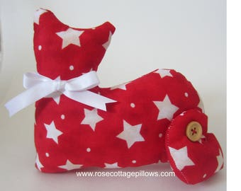 Cat Doll, Red with Starts Cat Doll, Patriotic Cat, Pillow Tuck, Primitive Cat, Collectible Cat