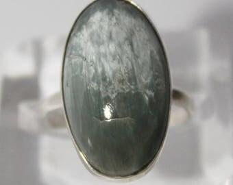 Green Cats Eye Ring, Natural Quartz Cat Eye, Chatoyancy Stone, Cat's eye effect, Prasem Quartz, 9 size ring  FREE SHIPPING