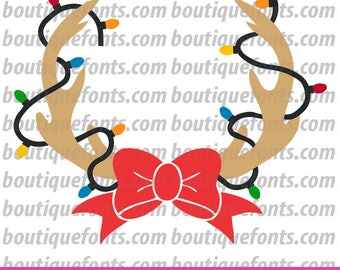Antler Lights Bow Monogram Frame SVG Cut File - Instant Download