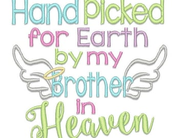 ON SALE Hand Picked Brother Embroidery Design - Instant Download