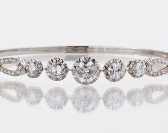 Vintage Bangle - Vintage Mid-Century 18k White Gold Diamond Bangle Bracelet