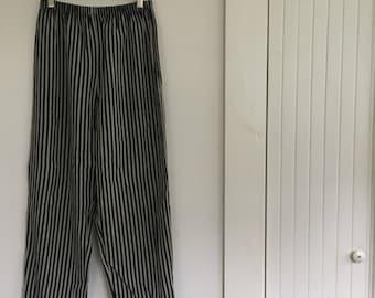Vintage Black & Grey Pants with Elastic Waist