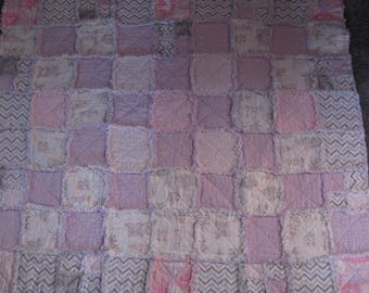 Handmade Flannel Rag Quilt - Ballerinas and bunnies-girl or baby