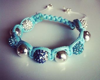 Shamballa bracelet adjustable white turquoise and silver #20