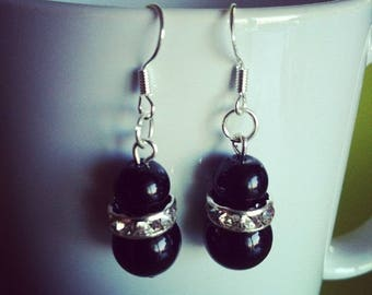 Black and rhinestone beaded Silver earrings