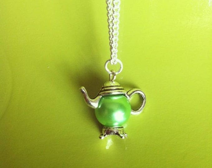 Silver Pendant chain necklace Green Pearl teapot