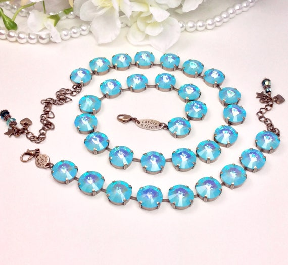 Swarovski Crystal Necklace, Bracelet and Earrings 14mm - UltraTurquoise or UltraPinkCoral A B   - Super Sparkle & Shimmer - FREE SHIPPING