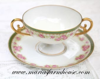 ANTIQUE BOUILLON, Cup and Saucer by LS&S - Lewis Strauss and Sons, Limoges, France, Replacement China - ca. 1890s - 1920s