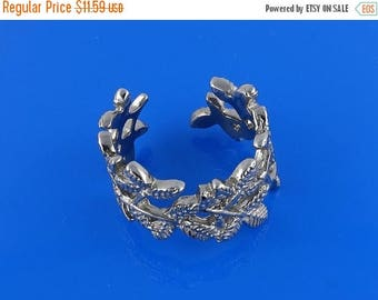 ON SALE Sterling Silver Leaves Toe Ring, Solid Silver, Free Size, 6g