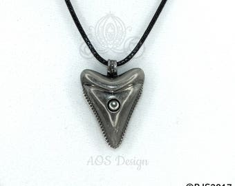 Shark Tooth Pearl Cage Locket Charm Pendant Black Cord Necklace Nautical Jewelry