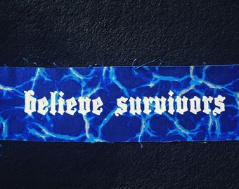 Blue Glitter Lightning Believe Survivors Patch