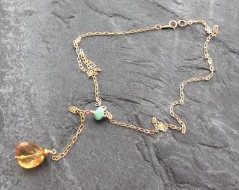 Minimalist gemstone necklace, Y necklace, citrine nugget necklace, November birthstone, semi precious necklace, birthday gift