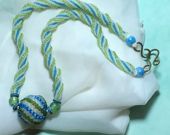 Blue Green Necklace Spiral Bead Necklace Beaded Bead Necklace Beadwork Necklace Beaded Ball Necklace Beaded Ball Pendant Seed Bead Necklace