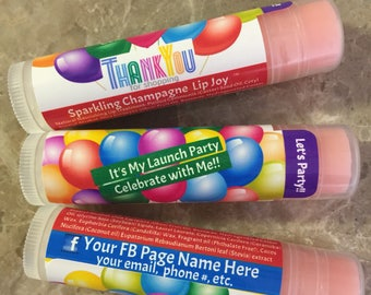 Personalized, Lip Balm, Consultants Gifts, Thank you, Customer Gifts, 48 tubes, Chapstick, Business Cards, launch party, favors, live sale