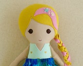 Reserved for Jenny - Fabric Doll Rag Doll Blond Haired Girl in Mint Green and Gold Heart Dress with Blue Swirl Mermaid Tail