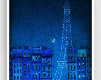 30% OFF SALE: The lights of the Eiffel tower - Paris illustration Art illustration Art Poster Wall art Paris Home decor Living room art Blue