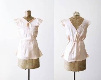 1930s Lingerie / Vintage Lingerie / Satin Camisole Top / Pale Pink Satin Shirt / 30s Clothing / Vintage Pajamas /