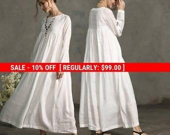 SALE! White Dress , Maxi Linen Dress, Drop Shoulder Sleeve Dress, Wedding Maxi Linen Dress, White Linen Kaftan, Oversized Dress, Loose
