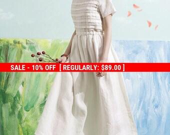 SALE! linen maxi dress, white maxi dress, white dress, bridesmaid dress, wedding dress, layered dress, sundress, romantic garden dress,