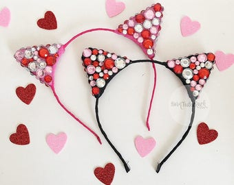 Valentine's Day Cat Ears // LOVE Cat Ears // Cat Ears Headband // by Born Tutu Rock