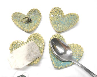 Pottery Heart Teabag Holder Ceramic Ring Dish Pottery Teaspoon Rest Ceramic Teabag Holder Pottery Ring Dish in Green and Blue