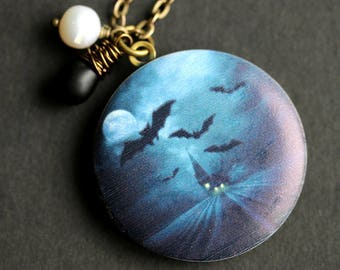 Halloween Night Locket Necklace. Haunted House Necklace with Black Teardrop and Fresh Water Pearl. Blue Necklace. Handmade Jewelry.