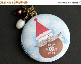 BACK to SCHOOL SALE Holiday Santa Locket Necklace. Santa Necklace. Christmas Necklace with White Coral Teardrop and Fresh Water Pearl. Holid