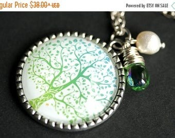 BACK to SCHOOL SALE Winter Thaw Tree Necklace. Silver Tree Pendant. Aqua Blue and Pale Green Handmade Necklace with Glass Teardrop and Fresh