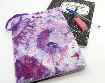 Composition Notebook Cover, Reusable Fabric Journal Cover, School Notebook  - Tie Dye Notebook in Purple and Pink