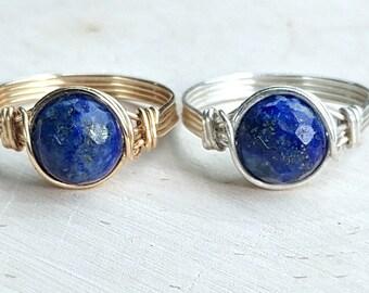 Lapis Lazuli Ring, Lapis Lazuli Wire Wrapped Ring, Sterling Silver Filled Ring, 14k Gold Filled Ring