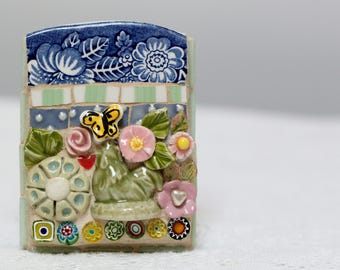 Rooster, butterfly mosaic, pique assiette, mosaic art