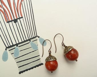 Jewellery Earrings Beaded Earrings Coral Earrings Sponge Coral Single Bead Earrings Red Earrings Drop and Dangle Earrings Boho Rustic Gifts