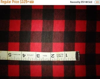 "SALE - Red & Black Buffalo Plaid Cotton Flannel Fabric, By the Yard, Half Yard or FQ - 43-44"" Wide"