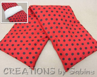 Heating Pack, Washable Cover Microwaveable Corn Pillow Heat Therapy Cold Pack Red Black Polka Dots 50s Rockabilly READY TO SHIP (482)