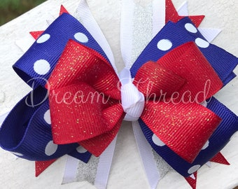 4th of July Bow, Fireworks bow, USA, Boutique Double Stacked Hairbows, Baby Boutique Bows, HairBows, Flower Hairbows, girls (made to order)